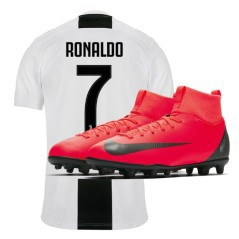 Maglia Juve Home 18/19 jr Cristiano Ronaldo + Scarpe Bambino Mercurial Superfly VI Club CR7 MG Built on Dreams Pack