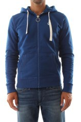 Felpa man Hooded Full Zip W Logo blu - variante 1 chiusa