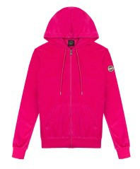Sweatshirt Woman In Chenille With Hood pink