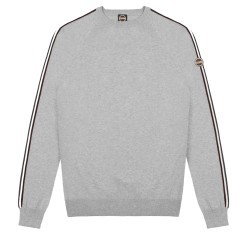 Mens Pullover crew neck Bands Tricolor grey