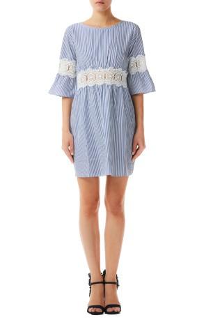 Damen Kleid Gestreift Aus Spitze Colore Blau Weiss Liu Jo Sportit Com