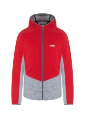 Jacket Trekking Man's Softshell Stretch red-grey