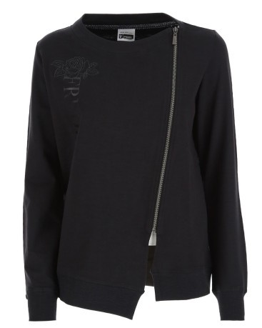 Sweatshirt Woman Zip Oblique black