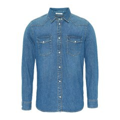 Denim Shirt Long Sleeve Men Western