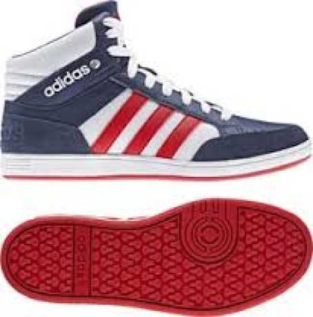 Shoes girl VL Neo Hoops Mid K colore Blue Red - Adidas - SportIT.com 134c79a6d822