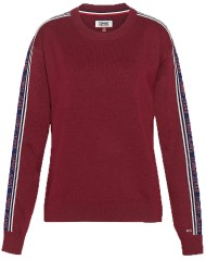 Maglione Donna Solid Tape Detail Sweater Frontale Rosso
