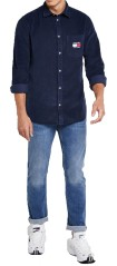 Man Shirt Cord Shirt Velour Blue Front