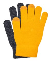 Gloves Women OnlAline Knit Front Gray-Yellow