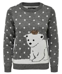 Sweater Women's Christmas Bear Front Fantasy-Grey