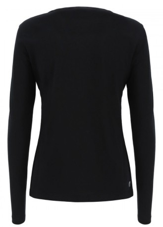 T-Shirt Maniche Lunghe Donna Basic Frontale Nero