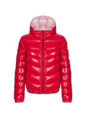 Down jacket Women's Bomber Super Shiny red Hood