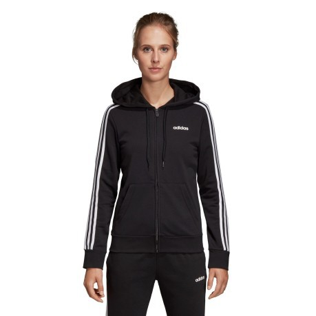 Felpa donna Con Cappuccio Essential 3 Stripes nero