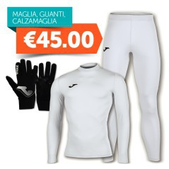 Combo Intimate Joma Knitted Thermal + Tights + Gloves White