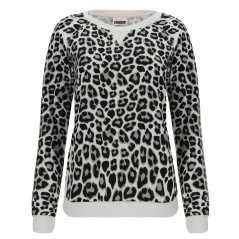 Felpa Donna Slounge Crew Animalier Frontale