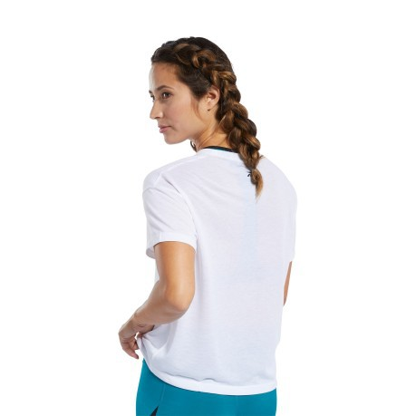 T-shirt Donna Workout Ready Supremium Logo Bianco Blu Frontale