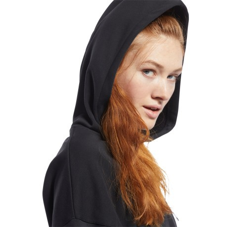 Sweatshirt Woman with Hood Meet You There Black Front