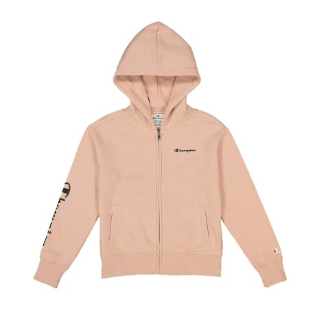 Felpa Girl American Full Zip Hooded rosa