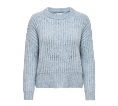 Maglione Donna Pullover New Chanky Texture Knitted azzurro