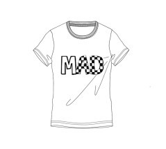 T-Shirt Junior Short Sleeve Check Mad bianco