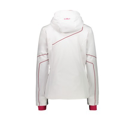 Giacca Sci Donna Jacket Softshell Hoodie Full Zip bianco rosso