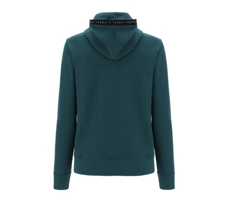 Felpa Donna Basic Cotton Nastro Full Zip Hoodie verde