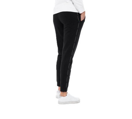 Pantaloni Donna Basic Cotton Brushed Banda nero