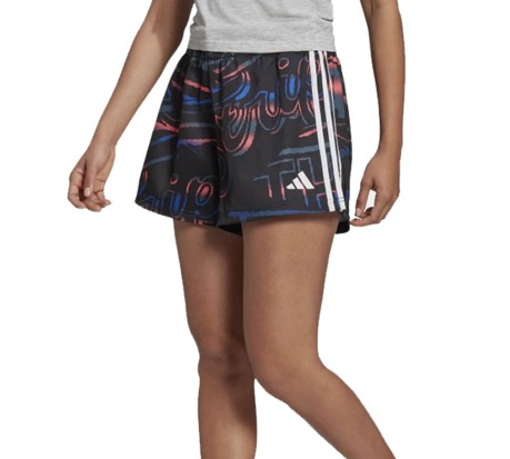 Shorts Donna Allover Print 3-Stripes nero