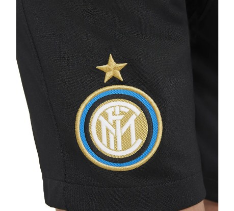 Shorts Calcio Junior Breathe Inter 2020/21 Stadium nero giallo fronte