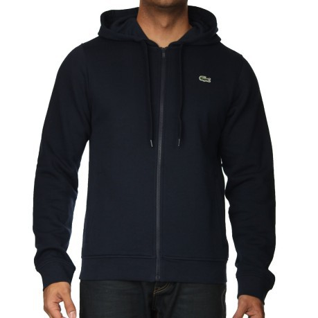 b938b715eb65ff Felpa uomo con cappuccio full zip colore Blu - Lacoste - SportIT.com