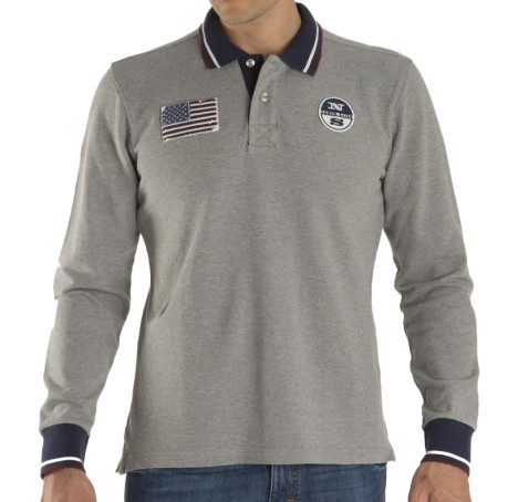 North Team Sails Grey Jersey Colore Long Man Polo w8qaxzA8