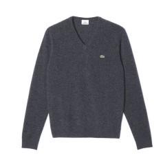 Pullover Scollo V Lana Merinos azzurro
