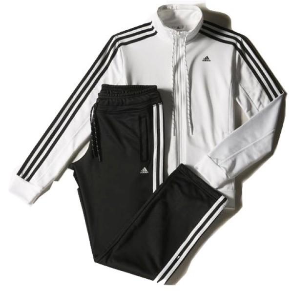 Tuta donna Sport Essential 3 Stripes Tracksuit colore Bianco Nero - Adidas  - SportIT.com 81223afa746