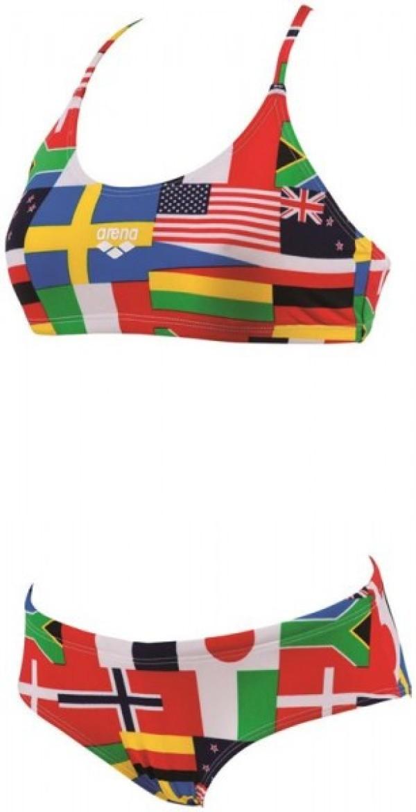 Costume due pezzi donna flags colore fantasia arena for Costume piscina 2 pezzi