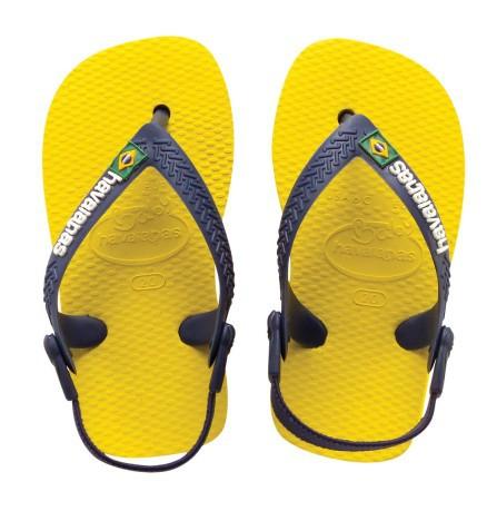 7c96c1fcd Chanclas Havaianas Brasil Logo De Bebé colore amarillo azul ...