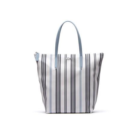 L Femmes Colore Sac Shopper 12 Verticales 12 Blanc Bleu Lignes 7xCTwqgE