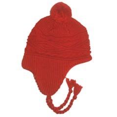 Berretto di lana Polartec Marini Silvano copriorecchi con pompon e treccine