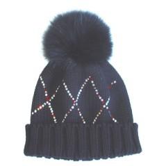 Berretto di lana Polartec Volpe Marini silvano con motivo a rombi