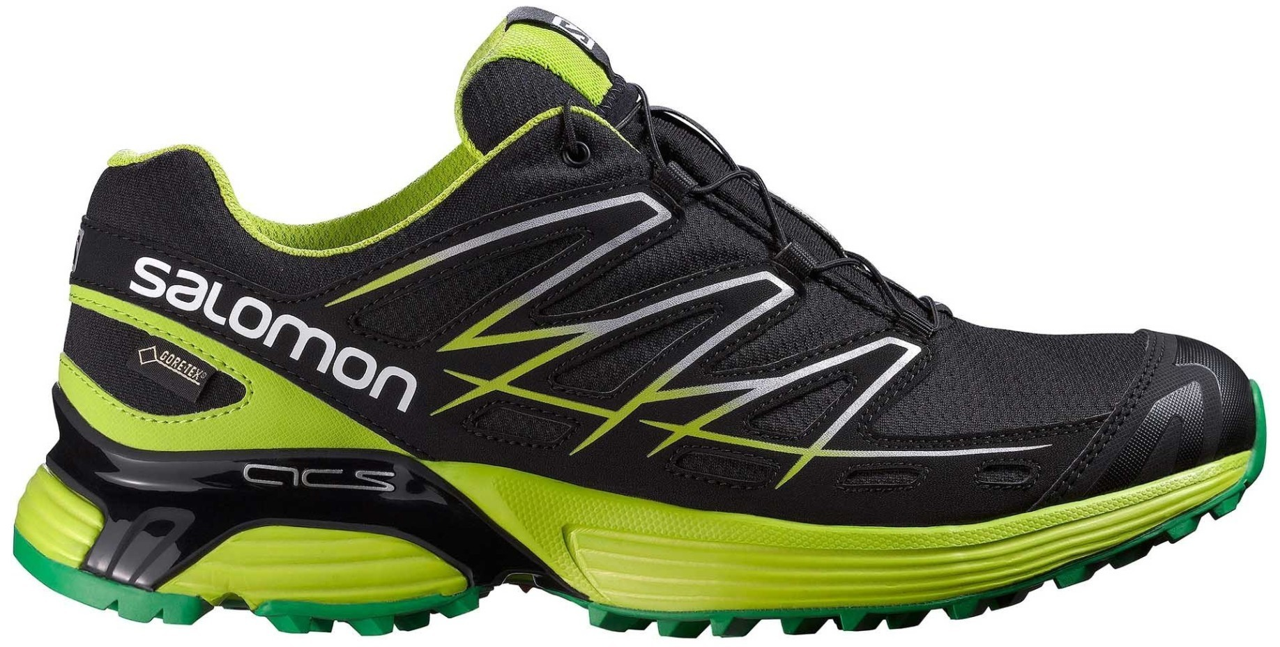 low priced c59cb ed69b Scarpa Uomo Running Wings Flyte GTX Gore A4 colore Black Green - Salomon -  SportIT.com