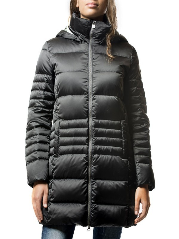 Piumino donna lungo con cappuccio colore Nero - Colmar Originals