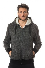 Shirt mens Full Zip Hood grey