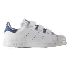 Scarpa Ragazzo Stan Smith Velcro bianco blu