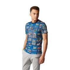 T-Shirt Uomo Tre Foil Shoebox blu fantasia