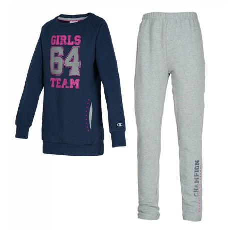 Tuta Bambina Sweat Suit Full Zip blu grigio
