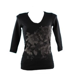 T-Shirt Donna Manica 3/4 nero