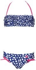 Costume Bambina Dots Bandeau blu bianco