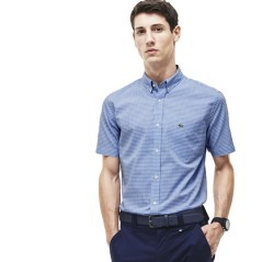 Man shirt Check Poplin blue - white