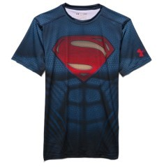 T-shirt Uomo Superman Suit Compression SS blu
