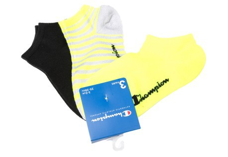 Calze donna Tri-Pack Sneakers Champion sportive giallo-bianco