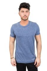 T-Shirt Uomo Fiammata Con Scritta blu