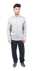Mens costume de Verrouillage Full Zip gris bleu